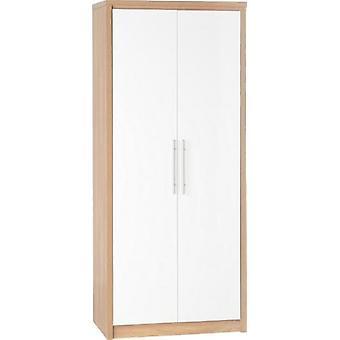 Sevilla 2 Tür Kleiderschrank - leichte Eiche Effekt Veneer/weiß Glanz