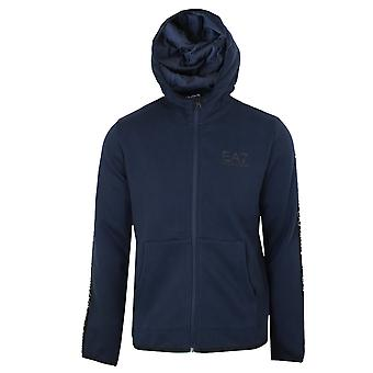 Ea7 emporio armani men's navy blue taped hooded sweatshirt
