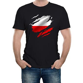 Reality glitch torn Polen flag herre t-shirt