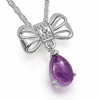 Set of 3 The Olivia Collection Womens Silvertone Genuine Amethyst Drop Pendant 18