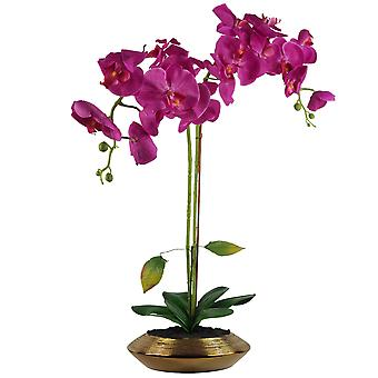 70cm Artificial Orchid Dark Pink with Gold Dish Ceramic Planter