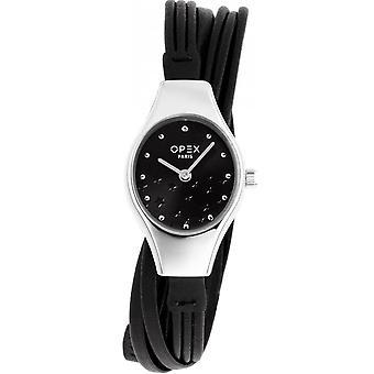 Opex OPW013 Watch - FILANTE Black Leather Bracelet Box Steel Silver Women's