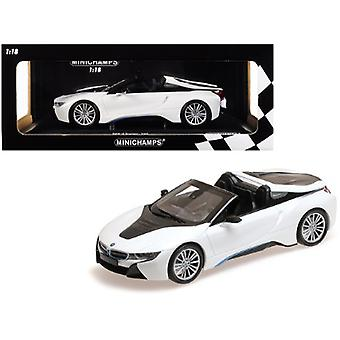 2018 BMW i8 Roadster Metallic White Limited Edition to 504 pieces Worldwide 1/18 Diecast Model Car by Minichamps
