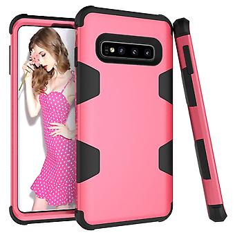 For Samsung Galaxy S10 Case, Rose Red Armour TPU & PC Shockproof Grip Back Cover