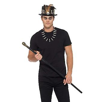 Voodoo Kit, with Feather Top Hat Adult Black