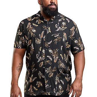 Duke D555 hombres Randal grande alto tamaño rey pluma impresión botón para arriba camisa - negro