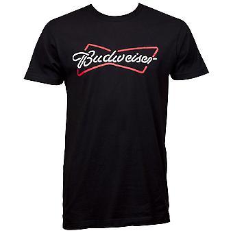 Budweiser Bowtie Neon Kirjaudu Logo Musta T-paita