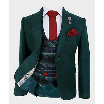Boys Tailored fit Cashmere Wool Blend Blazer Waistcoat Set in Forest Green