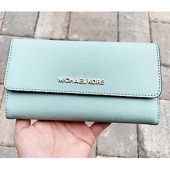 Michael kors jet set travel large trifold wallet pale jade turquoise