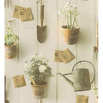 Garden Wallpaper Rasch Textured Embossed Vinyl Plant Pot Water Can Flower