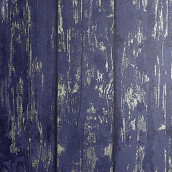 Metal lavado madera de madera papel pintado marino tablón de oro en relieve texturizado Arthouse