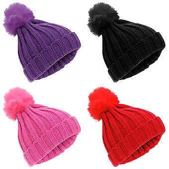 Childrens Girls Rockjock Cable Knit Faux Fur Pom Pom Winter Beanie Hat