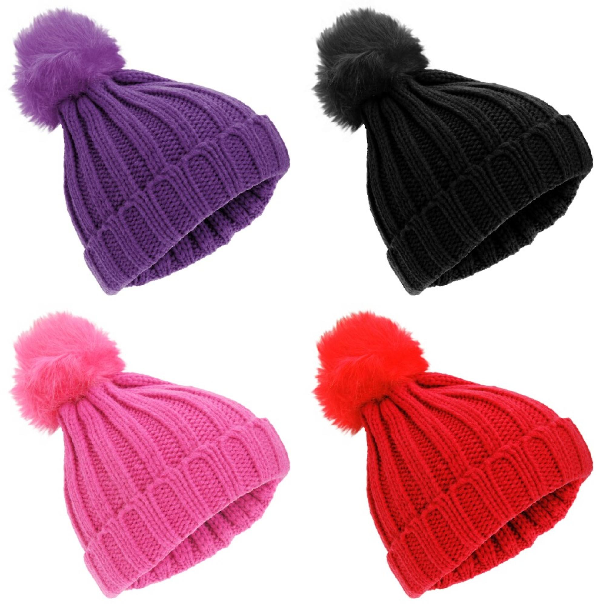 Universal Textiles Childrens Girls Rockjock Cable Knit Faux Fur Pom Pom Winter Beanie Hat