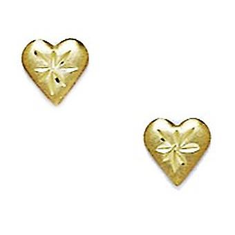 14k Yellow Gold Love Heart Stamping for boys or girls Earrings Measures 6x6mm