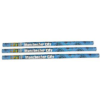 Manchester City FC Official Football Gift 3 Pack Pencil Set