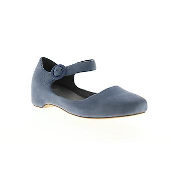 Camper Serena  Womens Blue Nubuck Leather Strap Slip On Flats Shoes