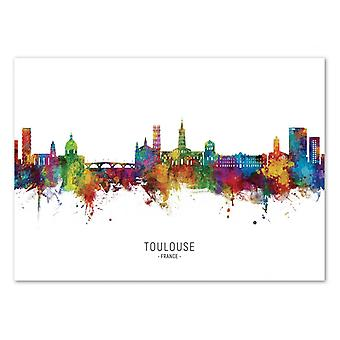 Art-Poster - Toulouse France Skyline (Colored Version) - Michael Tompsett