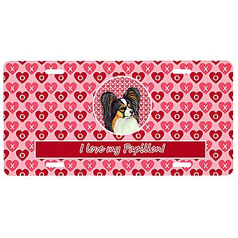 Carolines Treasures  LH9165LP Papillon Valentine's Love and Hearts License Plate
