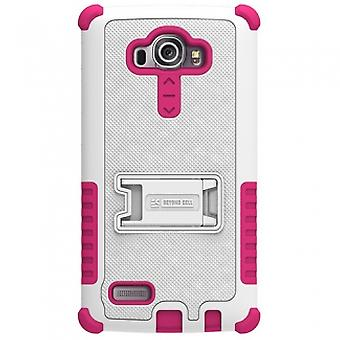 LG G4 BEYOND CELL TRI SHIELD CASE - WHITE/HOT PINK
