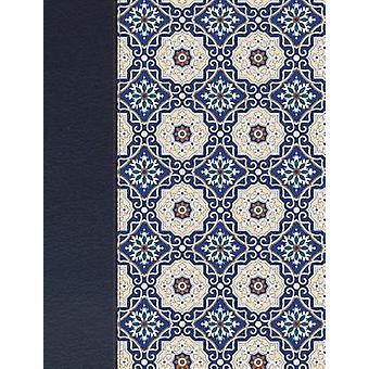 RVR 1960 Biblia de apuntes - piel fabricada y mosaico crema y azul -