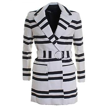 French Connection Escher Stripes Belted Womens Mac Jacket