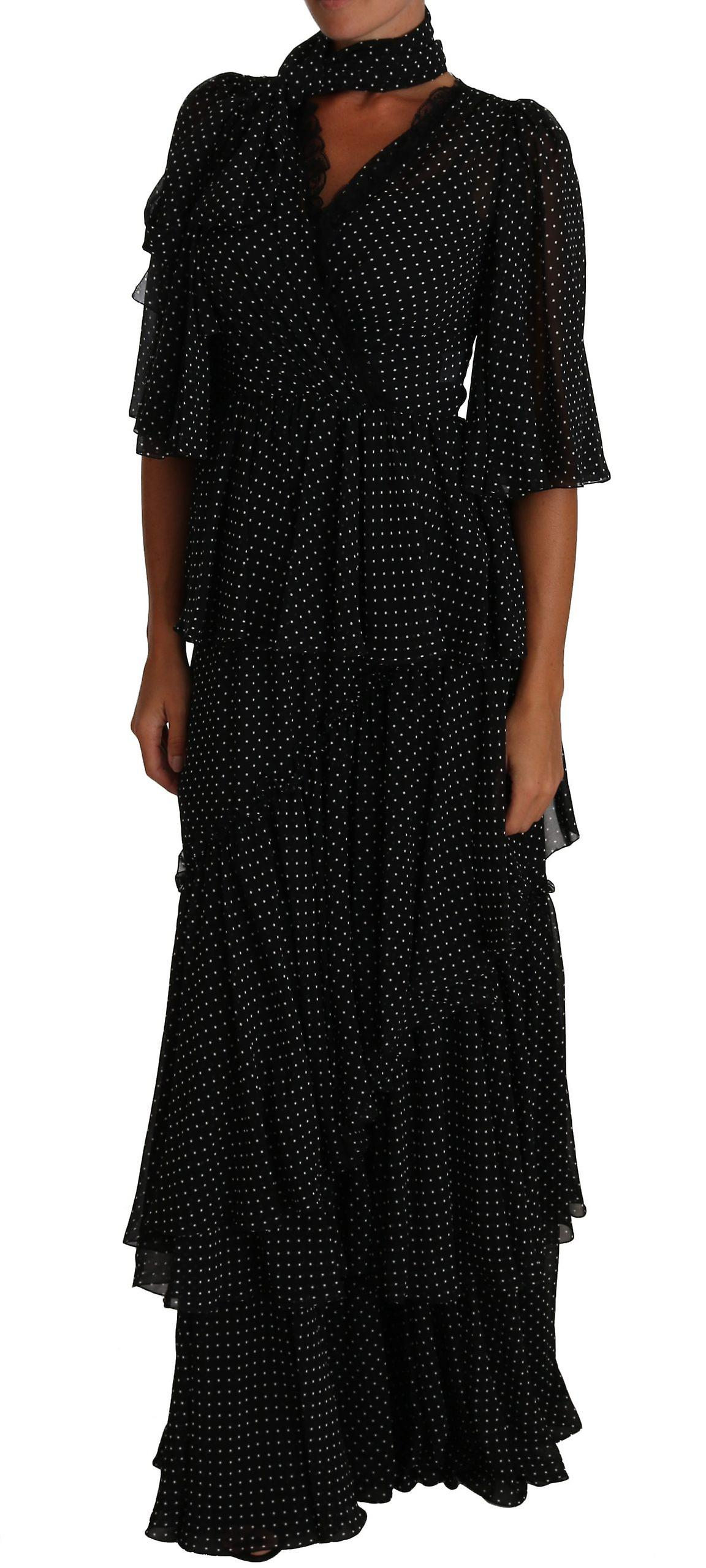 Dolce & Gabbana Black Ball Polka Dot Lace Ruffle Sartoria Dress -- DR15001328 U74Pgx