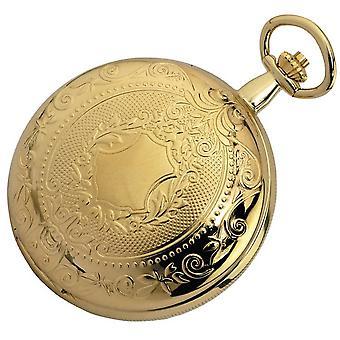 Woodford guldpläterade dubbel Hunter skelett mekanisk fickur - guld