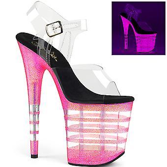 Pleaser Women's Schoenen FLAMINGO-808UVLN Clr /Neon Bubble Gum Roze Glitter
