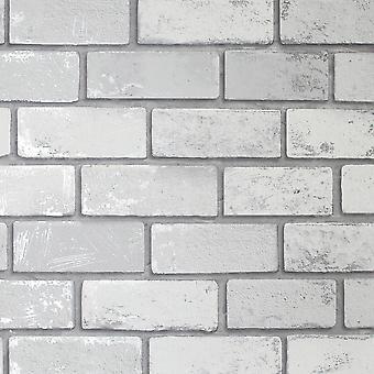 Kovové cihlové tapety bílá / silver arthouse 692201