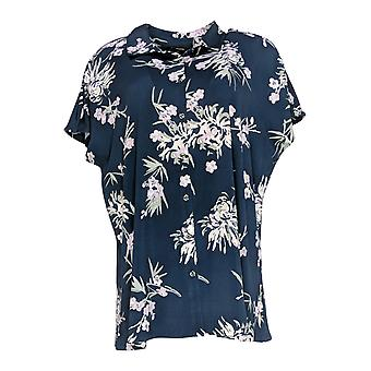 H by Halston Women's Top Printed Jet Set Jersey Tunic Blue A353767