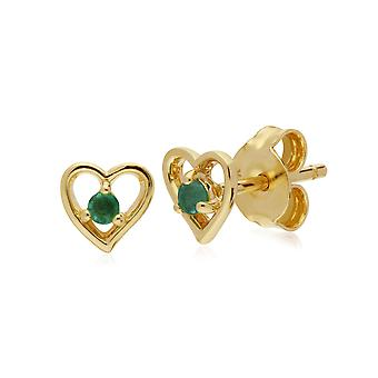 Classic Single Stone Round Emerald Open Love Heart Stud Earrings in 9ct Yellow Gold 135E1521019