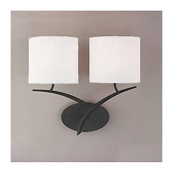Eve 2-light E27 Wall Light, Anthracite With Oval White Lampshade