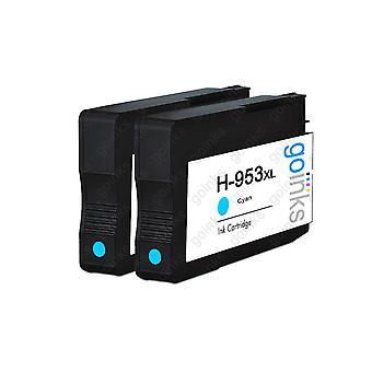 2 Wkłady atramentowe zgodne z atramentem cyjanowe firmy Go, które zastąpią zgodność z hp 953C (XL Capacity) / nieowiązki do OEM dla drukarek HP Officejet