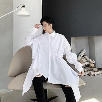 Irregular Design Long Sleeve Black White Long Shirt Tide Personality Pleated Tops