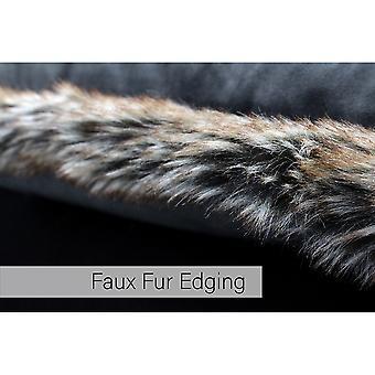 Riva Paoletti Kiruna Faux Fur Edged Square Cushion Cover
