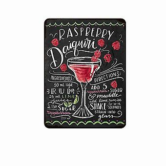 Vintage Blackboard Drawing Cocktail, Drink Metal Signs - Retro Coffee, Bar,