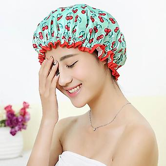Waterproof Bath Hat Double Layer Shower Hair Cover Women Supplies Shower Cap Bathroom Accessories