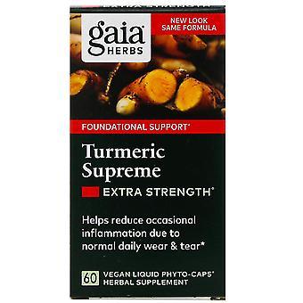 Gaia Herbs, Turmeric Supreme, Extra Strength, 60 Vegan Liquid Phyto-Caps