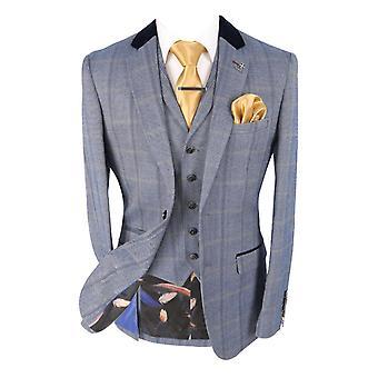 Men's Connall Blue Slim Fit Tweed Check Retro Suit