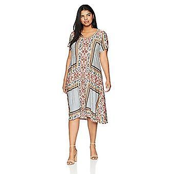 OneWorld Women's Plus-Size Short Sleeve T-Shirt Knit Dress, Multi Mosaic/Cora...