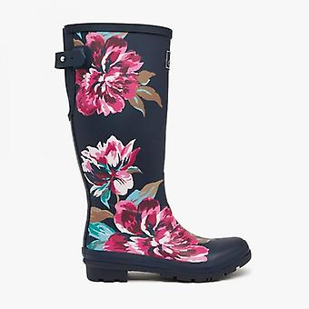 Joules Welly Print Dames Rubber Tall Wellies Navy All Over Floral