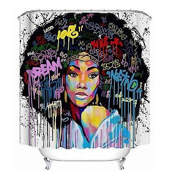 African American Women With Crown Shower Curtain Queen Princess Bath Curtains