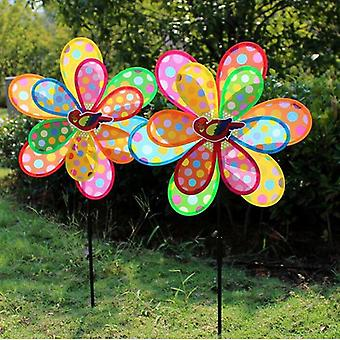 Double Layer Peacock Laser Sequins Windmill - Colorful Wind Spinner For Home And Garden Decor
