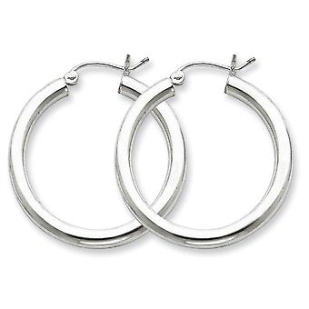 925 Sterling Silver Polished Hinged post 3mm Round Hoop Earrings Jewelry Gifts for Women - 2.9 Grams
