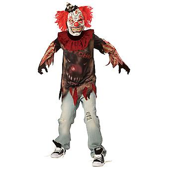 Sideshow Evil Clown Halloween Costume Boys Horreur Scary Fancy Dress 12-14 Ans