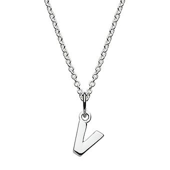Dew Sterling Silver Dinky V Initial Pendant 9092HPV027
