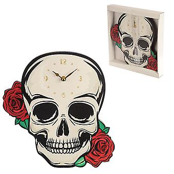 Dekorativa Fantasy Skull med röda rosor formade väggklocka X 1 Pack