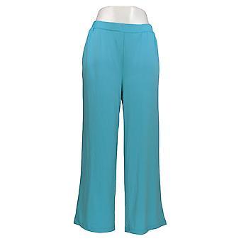 Bob Mackie Women's Petite Pants Wide-Leg Knit With Pockets Blue A350908