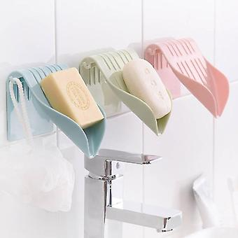 Drain Soap Box Sucker Holder, Dish Bathroom Organizer Storage Box Plastic Tray,