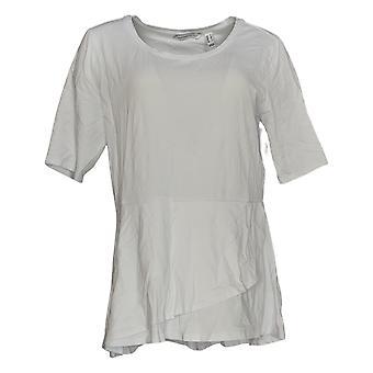 Isaac Mizrahi Live! Women's Top Elbow Sleeve Peplum White A303962
